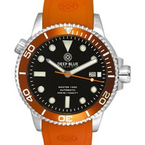 Deep Blue Master 1000 Auto Ceramic Diver Watch Orange Strap...