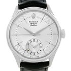 Rolex Cellini Dual Time 18k White Gold Automatic Mens Watch 50529
