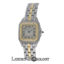 Cartier Genuine Ladies  Panthere One Row 18K Gold Steel 22mm...