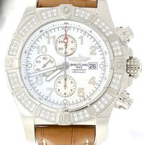 Breitling Super Avenger 1.40ctw Diamond Stainless Brown Alligator