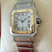 Cartier Santos Galbee Gold Steel White Roman Dial (40 x 29 mm)