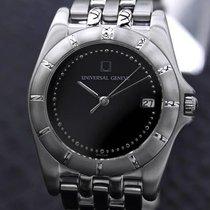 Universal Genève Black Dial Stainless Steel Mens Quartz Dress...