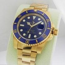 Rolex Submariner 18k Yellow Gold Blue Dial Auto B&P 116618