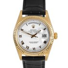 Rolex Mens 18K Gold President White Roman Numeral Dial 18038