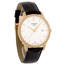 Tissot Tradition Mens Rose Gold Leather Strap Watch T063.610.3...