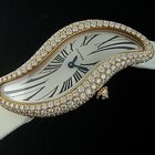 Cartier Pink Gold Baignoire S Crash Diamond Watch WJ306016