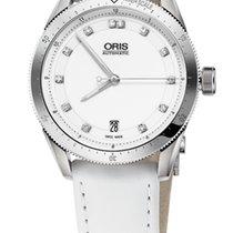 Oris Artix GT Date, Diamonds, White Dial, Leather Bracelet