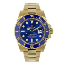 Rolex SUBMARINER 18K Yellow Gold Watch Blue Ceramic 2016