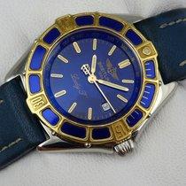 Breitling Lady J Damenuhr - Stahl - Goldlünette - D52065 - blau