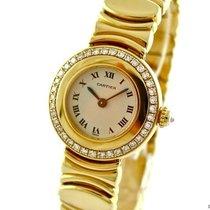 Cartier Colisee Ladies Watch 18k Yellow Gold Diamond Set Bezel