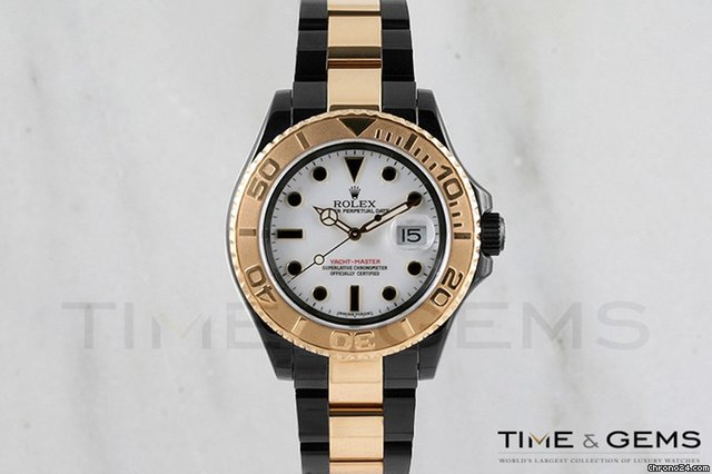 Rolex Two-Tone Black Coated DLC/PVD White Dial Yacht-Master