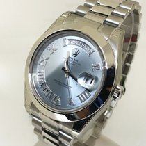 Rolex Day Date II Platinum ICE Blue Diamonds Roman Numbers 218206