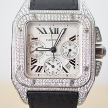 Cartier Santos 100 XL Chronograph Steel Diamond Set IN STOCK NOW