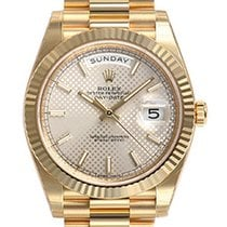 Rolex Day-date 40mm President 228238 Yellow Gold Silver...