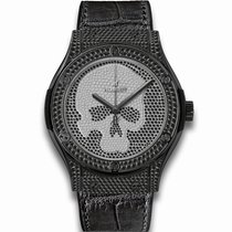 Hublot [NEW] Classic Fusion Black Skull Full Pavé Watch