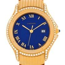 Cartier Cougar 18k Yellow Gold Diamond Blue Dial Watch 11651