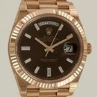 Rolex Day-Date 40mm Everose Gold Chocolate Dial with Baguette-...