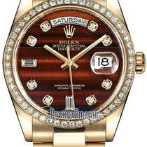 Rolex Day-Date 36mm Yellow Gold Diamond Bezel 118348 Bulls Eye...
