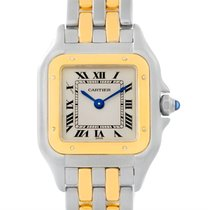 Cartier Panthere Ladies Steel 18k Yellow Gold Two Row Watch...