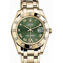 Rolex Pearlmaster 34 81318 Olive Green Roman Yellow Gold Bezel...