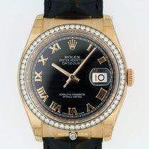 Rolex 116185 Datejust 36 Everose Black Dial Diam Bezel Blk...