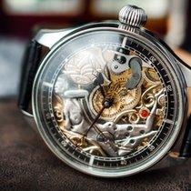 """Omega Marriage watch skeletonized """"Woman"""" steel c.1920"""