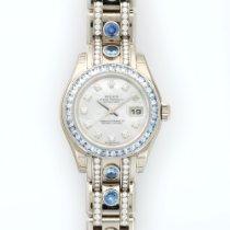 Rolex White Gold Pearlmaster Diamond Sapphire Ref. 80309