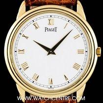 Piaget 18k Yellow Gold White Roman Dial Gents Dress Wristwatch