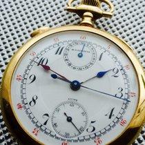 M.T. Stauffer fine 14Kt Gold Rattrapante Taschenchronograph-Sp...