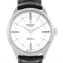 Rolex Cellini Time 18k White Gold Mens Watch 50509 Box Papers
