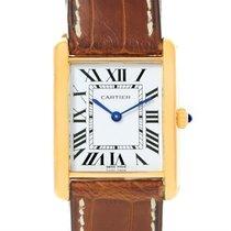 Cartier Tank Classic Paris 18k Yellow Gold Brown Strap Unisex...