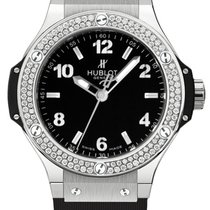 Hublot Big Bang Stainless Steel Rubber Diamonds Quartz Ladies...