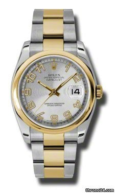 Rolex Datejust Silver Concentric Dial Automatic Stainless Steel and 18K Yellow Gold Mens Watch 116203SCAO