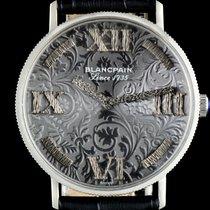 Blancpain 18k White Gold Embossed Filigree Grey Dial Gents Watch