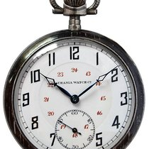 Urania Open Face hinged Silver Case Pocket Watch with Niello...