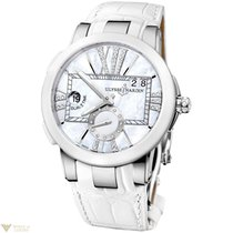 Uylsse Nardin Executive Dual Time Silver Dial Crocodile Strap...