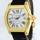 Cartier Mens Roadster 18k Yellow Gold Silver Dial Automatic...