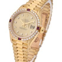 Rolex Used 69068 President Lady with Factory Diamond and Rubby...