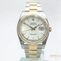 Rolex Datejust 36 mm Edelstahl Gelbgold Ref. 116233 Weiß Index