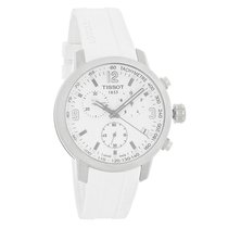 Tissot PRC 200 Mens Chrono White Rubber Band Quartz Watch...