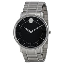 Movado TC Black Dial Stainless Steel Mens Watch 0606687