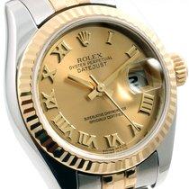 Rolex Ladies 26mm 18K/SS Datejust Champ Roman Dial - 179173