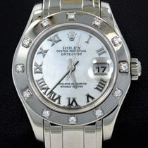 Rolex Masterpiece Pearlmaster 80319 18k W Gold Diamond Bezel...