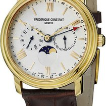Frederique Constant Business Timer Brown Leather Strap...