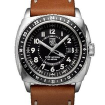 Luminox Mens P-38 Lightning - Black Dial - Brown Leather Strap...