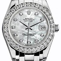 Rolex Pearlmaster 34 81299 White Mother of Pearl Diamond Bezel...