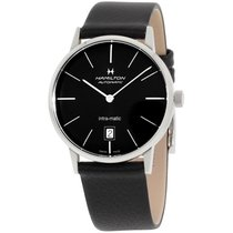 Hamilton Intra-matic Black Dial Leather Mens Watch H38455731