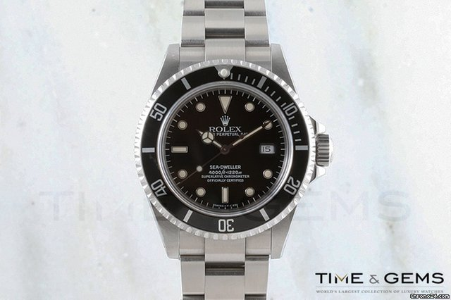 Rolex Stainless Steel Black Dial Black Bezel Sea Dweller 1995
