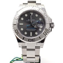 Rolex YachtMaster 40 steel and platinum NEW Grey dial blue hands