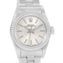 Rolex Nondate Ladies Steel 18k White Gold Silver Dial Watch 67194